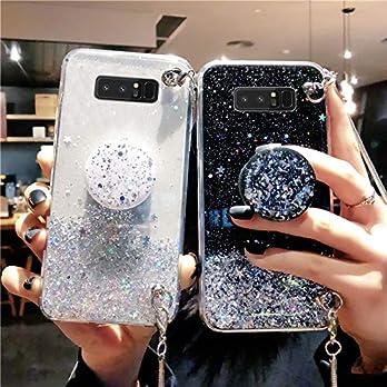 MUDIOU Mode Luxus Glitzer Weich Silikon Hülle für Samsung Galaxy Note 10/Note 10 Plus/S10/S10 Plus/S10 Lite/S10 5G/S9/S9 Plus/S8/S8Plus/Note9/Note8/A80/A90 (Halterung)