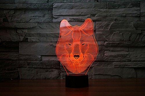 3D Lampe USB Power 7 Farben Amazing Optical Illusion 3D wachsen LED Lampe Wolf Kinder Schlafzimmer Nacht Licht