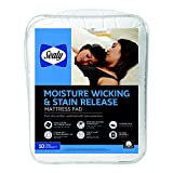 Sealy Moisture Wicking and Stain Release Mattress Pad, Full, White