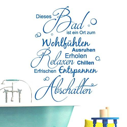 """Wandtattoo Loft® Schriftzug """"Dieses Bad ist ein Ort zum Wohlfühlen"""" / Wandtattoo / Wandaufkleber / 54 Farben / 3 Größen / schwarz / 103 cm hoch x 75 cm breit"""
