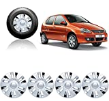 #8: Auto Pearl - Premium Quality Car Silver Black Wheel Cover Caps 13 Inches Press Type Fitting For - Tata Indica V2