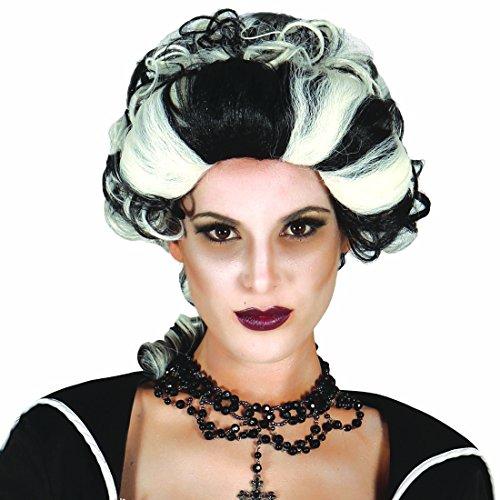Barock Perücke Vampirin schwarz-weiß Vampirperücke Damen Zombieperücke Barockstil Damenperücke Böse Königin Schwarze Fee Perücke Hexe (Fee Perücke)