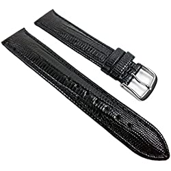Eulit Teju-Print Replacement Band Watch Band Leather Kalf Strap black leather 533 XL_10S, Abutting:18 mm