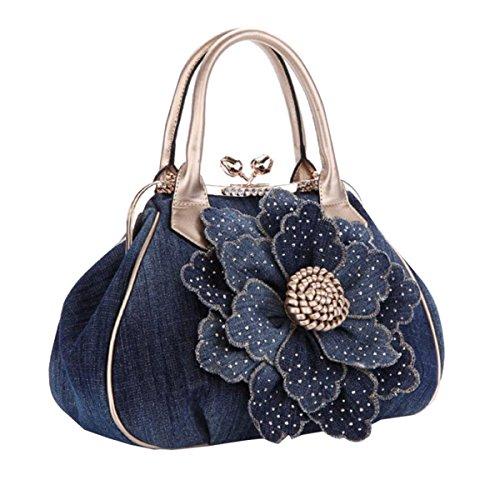 Frauen Handtasche Denim Blumen Dekorative Schulter Messenger Bag Gold