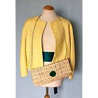 Cartera de mano en tweed amarillo con ágata verde
