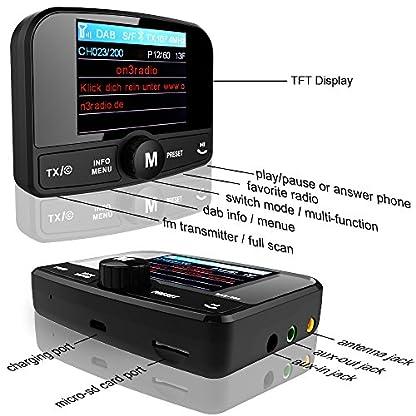 FirstE-DABDAB-Autoradio-Adapter-24-Farb-Autoradio-60-Presets-Stationen-Tragbar-Digital-Radio-DAB-Transmitter-Bluetooth-Freisprechanruf-FM-SenderAux-InOut64G-TF-Musik-PlayDual-USB-Ladegert