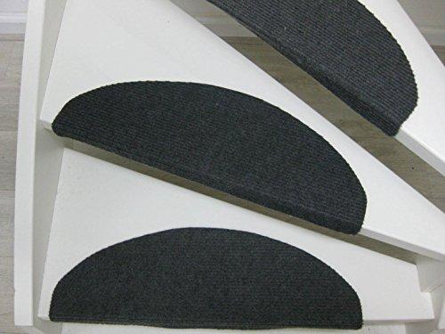 Teppichwahl Tapis d'escalier Lilongwe 65x25cm Bleu Anthracite et Beige (Anthracite)