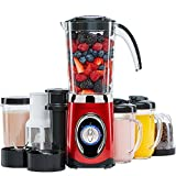 Andrew James Smoothie Maker, 220 Watts, 4 in 1 Multifunctional, 2 x 600ml Drink Cups, 1.5L Capacity (Red)
