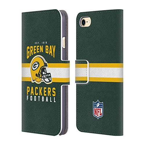 Head Case Designs Offizielle NFL Helm-Buchdruckerkunst 2018/19 Green Bay Packers Leder Brieftaschen Huelle kompatibel mit iPhone 7 / iPhone 8
