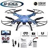 s-idee® 01636 X5HW blau Quadrocopter Syma Wifi HD Kamera FPV Höhenstabilisierung, Headless Mode VR möglich, Drohne 360° Flip Funktion, 2.4 GHz mit Gyro, 4-Kanal, 6-AXIS System Drone mit Camera 720p