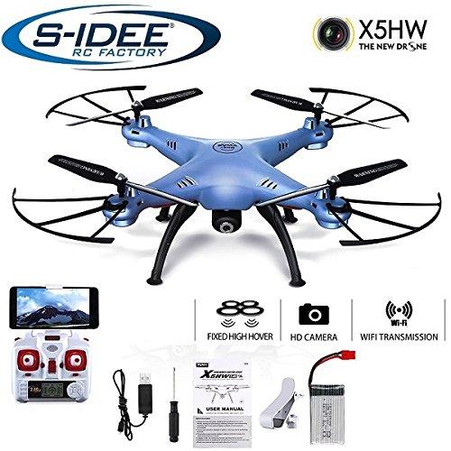 s-idee® 01636Syma X5HW Quadricoptère Bleu WiFi, caméra HD, vol en immersion, stabilisation en hauteur, réalité virtuelle mode sans tête (headless) possible, fonction bascule à 360° du drone, 2,4 GHz avec gyroscope, 4 canaux, drone avec système à 6 axes et caméra 720p Notice d'utilisation en français non garantie