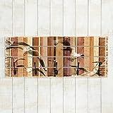 Bilderwelten Wandgarderobe Holz - Seemöwen - Haken Schwarz - Quer, Garderobenpaneel Holzpaneel Kleiderhaken Flurgarderobe Hakenleiste Holz Hängegarderobe inkl. Haken, Größe HxB: 40cm x 100cm