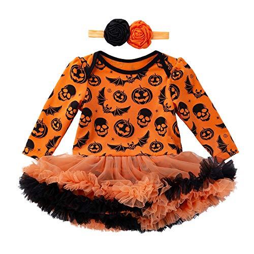 Baby Jungen Mädchen Neugeborenen Langarm Kürbis Drucken Prinzessin Strampler Overall Kleidung Tutu Kleid und Stirnband 2 Stück Outfits Halloween Karneval Party Kleid von Innerternet