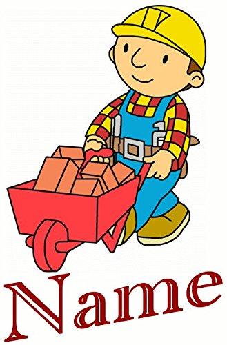 Bügelbild bob le bricoleur avec prénom et 1 petite avec image pour s'entraîner, pour textiles multicolores