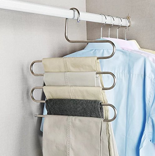 SQYJ Zwei Edelstahl Rostfrei S Hose Rack, Multi-Layer Hose Rack, Multifunktionale Hose, Hängende Hose Rack, Haushalt, Holz, Wäscheständer, 2, Stahl Eigenfarbe