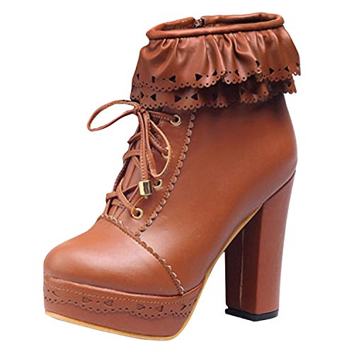 Oasap Damen Einfarbige Schnürsenkel Hohe Absätzen Stiefeletten Brown
