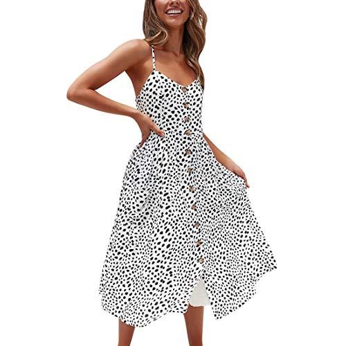 Leopard Design Kleid (Decha Damen Kleider V Ausschnitt Schulterfreies Ärmellos Lange Bedruckt Sommerkleider Strandkleider mit Knöpfen Vorne (Leopard, M))