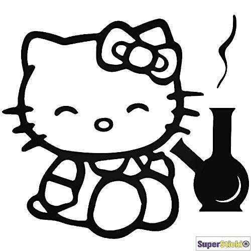 (Hello Kitty kiffen Bong Autoaufkleber Wandtattoo ca 15 cm Aufkleber Decal von SUPERSTICKI® aus Hochleistungsfolie geplottet,freigestellt ohne Hintergrund für alle glatten Flächen UV und Waschanlagenfest Profi Qualität)