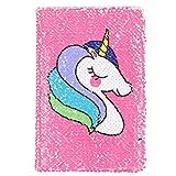 Carnet de notes créatif licorne, format A5, motif sirène à paillettes, réversible, pour enfants, filles rose