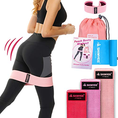 Shinyee elastici fitness banda elastica fascia resistenza per glutei gambe donna alta resistenza antiscivolo per allenamento pilates sport booty builder hip resistance band(pink-l-43cm)
