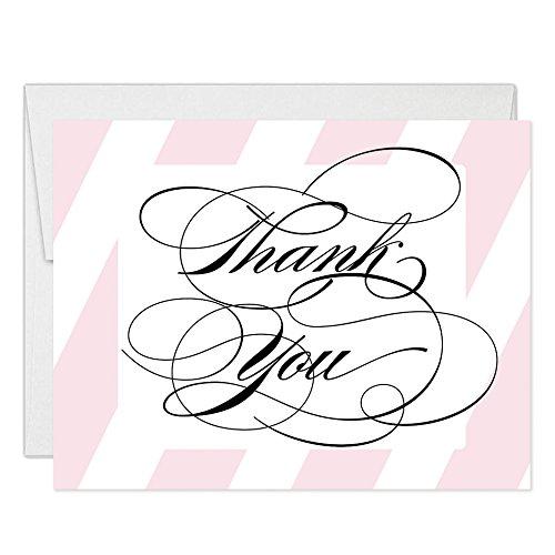 Pink Streifen Elegant Script Thank You Karten mit Umschläge (50Stück) gefaltet blanko Kalligraphie Thank You siehe Passende Baby Bridal Dusche Hochzeit Party lädt auch Hervorragende Wert vt0025 (Dusche Einladungen Bridal Elegante)