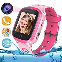 GPS Kids Smart Watch Phone - WiFi + GPS + LBS Tracker Smartwatch with Step Counter Gao Fence Calling SOS Voice Chat Camera Game for Boys Girls Age 3-12 (Pink)