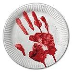 40-teiliges Halloween-Set * BLUTIGE HAND * mit Pappteller + Servietten + Pappbecher + Deko // Teller Becher Essen Pappe…