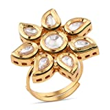 #9: Tistabene Retails Traditional Kundan Meena Engagement Wedding Stylish Party Wear Adjustable Finger Ring for Girls And Women (RI-0857)