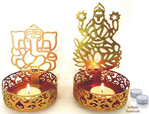 Jodhpur Handicraft Shadow Diya Tealight Candle Holder of Laxmi ji Ganesh ji as Diwali Gift, Corporate Gift with 4 Tealight Candles by OrganoNutri