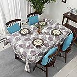 XDLUK Tischdecke Segelbuch Rechteckiges Quadratisches Modern Simple Tischtuch Fleckenschutz Wassedicht Abwaschbare Tischwäsche mit Blatt Muster, Grau,90x140cm