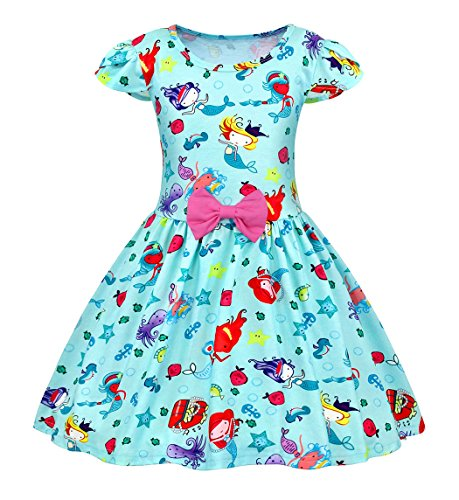 AmzBarley Girls Mermaid Summer Dress Casual Sundress for Kids Party Dress up Costume
