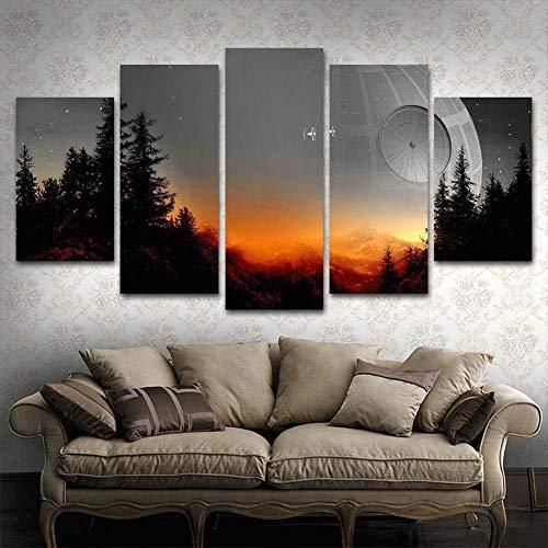 Kunst Leinwand-druck - (Modular Leinwand drucke Bilder Wand Kunst Gerahmt 5 Stücke Malerei Filmplakat Wohnzimmer Wohnkultur,A,30×40×2+30×60×2+30×80×1)