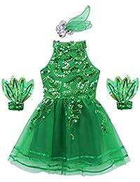 Freebily Tutu Pom-Pom Girl Enfant Fille Justaucorps Danse Ballet Classique  Robe Latine Danse Paillettes Robe Patinage Gym Déguisement Danse… 10824e08bcc