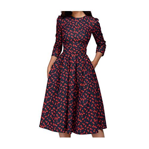 sunnymi Frauen Kleid, Blumen Vintage Kleid Elegantes Midi Abendkleid mit 3/4 Ärmeln -