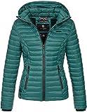 Marikoo Damen Jacke Steppjacke Übergangsjacke mit Kapuze gesteppt B600 [B600-Samt-Deep-Green-Gr.XL]