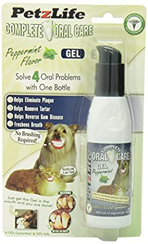PetzLife Oral Care Gel Peppermint Flavor Natural Toothpaste for Dogs Cats 4oz