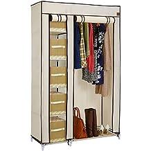 VonHaus Double Canvas Effect Wardrobe - Clothes Storage Cupboard with 6 Shelves & Hanging Rail - Beige (W110 x D45 x H175cm)