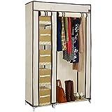 VonHaus Double Canvas Effect Wardrobe Clothes Cupboard Hanging Rail Storage | 6 Shelves | Beige | W110 x D45 x H175cm