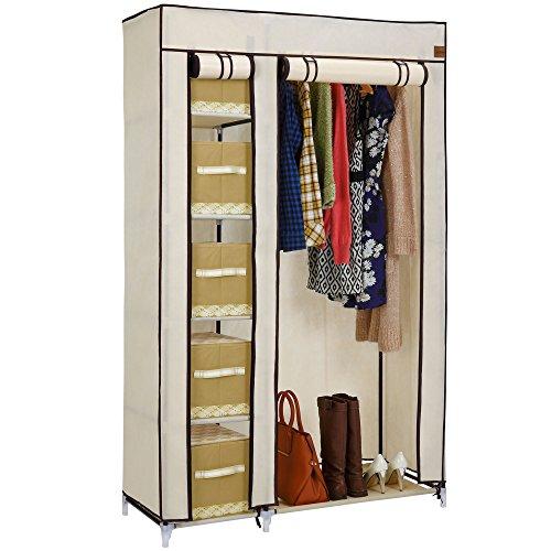 vonhaus-double-canvas-effect-wardrobe-clothes-cupboard-hanging-rail-storage-6-shelves-beige-w110-x-d