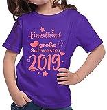 HARIZ  Mädchen T-Shirt Einzelkind Große Schwester 2019 Sterne Große Schwester Geschwisterliebe Bruder Geburt Plus Geschenkkarte Lila 140/9-11 Jahre