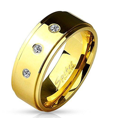 Bungsa 70 (22.3) Goldener Ring Herren Männer mit 3 Kristallsteinen Edelstahl 60 62 64 67 70 (Herrenring Fingerring Partnerringe Verlobungsringe Trauringe Männerring Edelstahlring Chirurgenstahl)