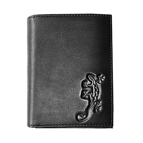 Oxmox Kollektion Leather Kombibörse Lizard Schwarz (Lizard Geldbörse)