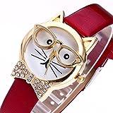Darringls_Reloj,Reloje Hombres Mujer Reloj Deportivo Reloj de Pulsera de Cuarzo de aleación de Banda de Cuero de Dibujos