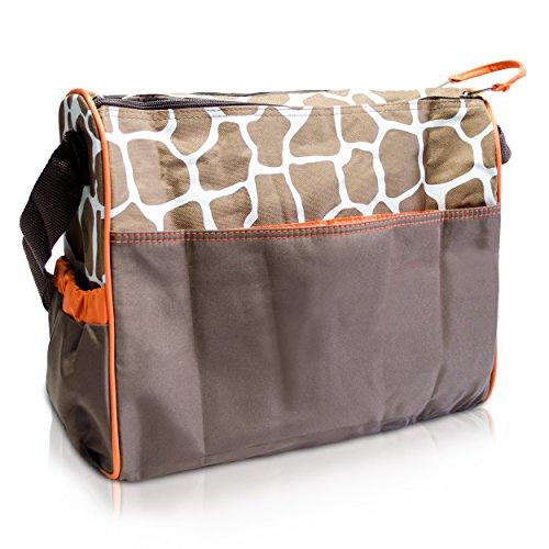 Wickeltasche mit Giraffen-Muster, braun - 6