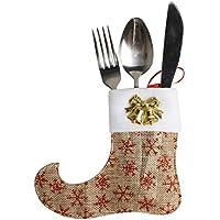 Lenfesh 1PC Bottes de Noël Décoration d'arbre Ornements de vaisselle Fourchette à bonbons fourchette (marron)