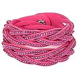 Rosa Double Twist Wrap Armband mit Crystal Strass sehr Polituren