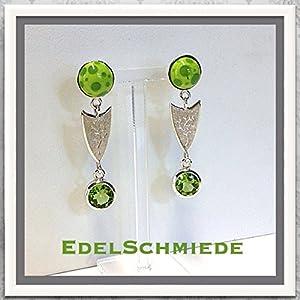 Grüne Glascabochons mit grünem Peridot (fac) kombiniert in 925/- Sterling Silebr - unikat -