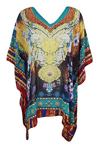 Boho Chic Designs - Copricostume - Kimono -  donna Blue, Yellow