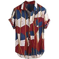 LHWY Camisa de Hombre Tops Shirt 2019 New Mens Lump Pecho Bolsillo Manga Corta Dobladillo Redondo Camisas Sueltas Blusa,Rojo,XL