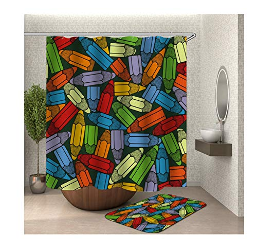 Aeici Badteppich 40X60 Farbstift Badezimmerteppich Set Polyester Badvorhang Textil Bunt Duschvorhang 150X180 cm
